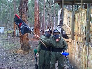 Another paintball player celebrates after taking the flag all the way. And it was their first time! Well done!